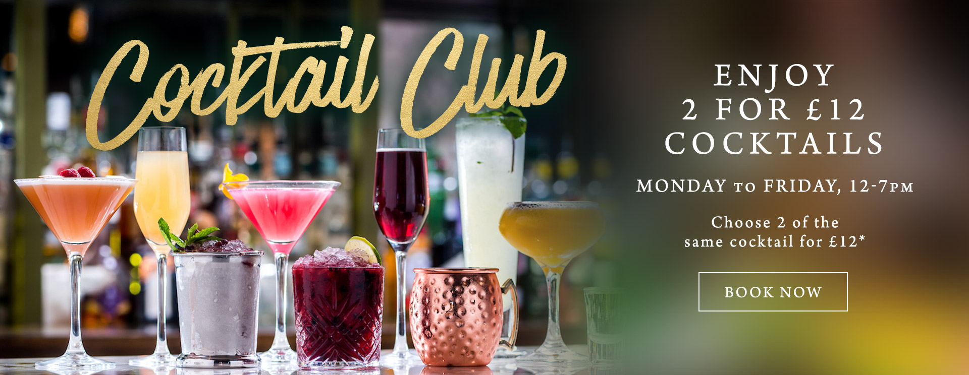 2 for £12 cocktails at The Crown